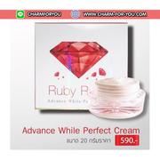 ครีมรากหญ้า รับบี้โรส Advance White Perfect Cream Ruby Roses สยบสิวฝ้าอย่าเห็นผล เนื้อครีมกลิ่นหอมผ่อนคลาย ซึมไวไม่เหนียวเหนอะหนะ ขนาด 20 กรัม ขายเครื