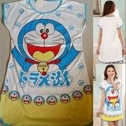 ชุดนอนกระโปรง ชุดนอนแซก แขนสั้น ลาย โดเรม่อน Doraemon Freesize ผู้ใหญ่ เด็กโต F อก 36 ยาว 32นิ้ว
