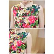 ชุดคลุมท้องคอจีน ผ้าฝ้ายพิมพ์ลายดอกไม้สวยงาม ด้านข้างผ้าพริ้วสวย M L XL XXL > Size L