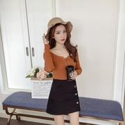 เสื้อแฟชั่นเกาหลีแขนยาวเข้ารูป สายผูกโบว์ที่คอ สีน้ำตาล