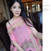 เสื้อคลุมชีฟองใส่ได้หลายแบบ 3in1 สามารถใช้เป็นผ้าพันคอได้ สีชมพู