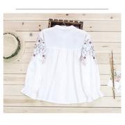KTFN เสื้อเชิ๊ตคอปกแฟชั่น งานปักลายลูกไม้บอสซัม ปลายแขนยางยืด สีขาว