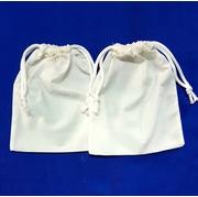 ขายส่งกระเป๋าผ้าดิบแบบหูรูดสองข้าง (จำนวน12ใบ)