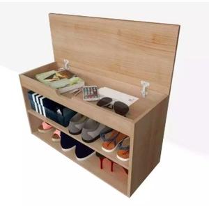ชั้นวางรองเท้า 2 ชั้น ตู้วางรองเท้าไม้ พร้อมทีนั่งใส่รองเท้าในตัว ฝาเปิดได้ ฝาเปิดเก็บของได้ สีคาปูชิโน่