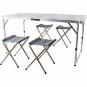 โต๊ะปิคนิคพับได้อลูมิเนียม 120x60 cm. พร้อมเก้าอี้พับได้ 4 ตัว
