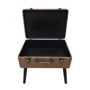 เก้าอี้สตูล กระเป๋าวินเทจ กล่องเก็บของ นั่งได้ พับได้ - สีน้ำตาล