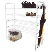 ชั้นวางรองเท้า เหล็กพ่น EPOXY 4 ชั้น 20คู่ ตู้วางรองเท้า ที่วางรองเท้า เหล็ก สามารถแขวนร่มได้