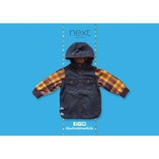 Denim Jacket by Next เสื้อยีนเดนิมแขนลายสก๊อต ยี่ห้อ Next
