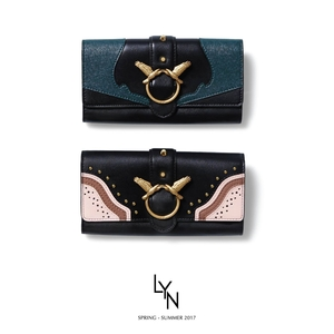 กระเป๋าสตางค์ LYN Wallet ใบยาว ฝาพับ แต่งมุด ใหม่ ชนชอป 2018