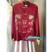 พร้อมเช่า ชุดจีน ชาย เสื้อคอจีน ผ้าไหมจีน สีแดง ปักลายมังกร