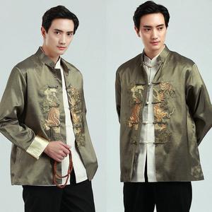 Pro-order ชุดจีน ชาย เสื้อคอจีน ผ้าไหมจีน สีเขียว ปักลายมังกร