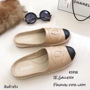 รองเท้า Chanel Espadrilles เปิดส้นรุ่นหนัง (สีครีม)