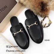 รองเท้าเปิดส้นหนังนิ่ม Style Gucci (สีดำ)