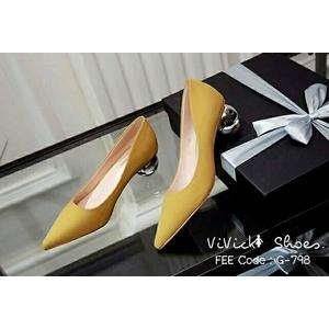 รองเท้าคัทชูส้นปรอทเงินสไตล์เกาหลี (สีเหลืองมัสตาร์ด)