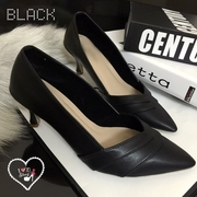 พร้อมส่ง : รองเท้าคัชชูหัวแหลมส้นสูง2นิ้ว (สีดำ)