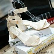 พร้อมส่ง : รองเท้าส้นสูงสไตล์ Zara (สีครีม)