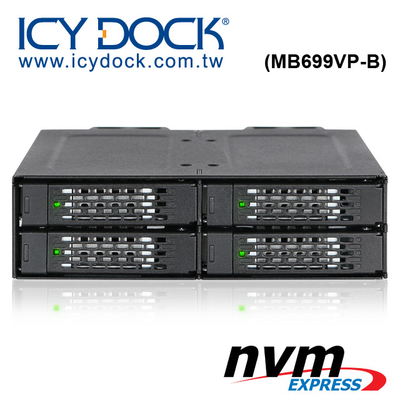 """(ICY DOCK)ICY DOCK Full Metal 4-layer 2.5"""" NVMe U.2 SSD to 5.25"""" Device Space Solid State Hard Disk Backplane Module Pickup Box (MB699VP-B)"""