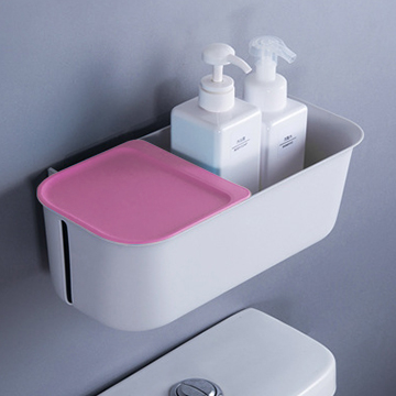 Wet and dry wall-mounted bathroom storage box - pink