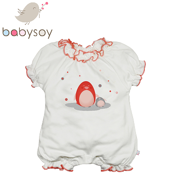 United States [Babysoy] Janey Baby organic cotton baby clothes coveralls trim little penguin 211-