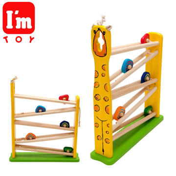 [I\'m toy Thai Wooden] Giraffe Rolling Inclined Ladder