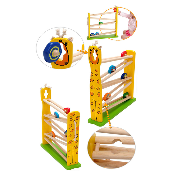 [I'm toy Thai Wooden] Giraffe Rolling Inclined Ladder