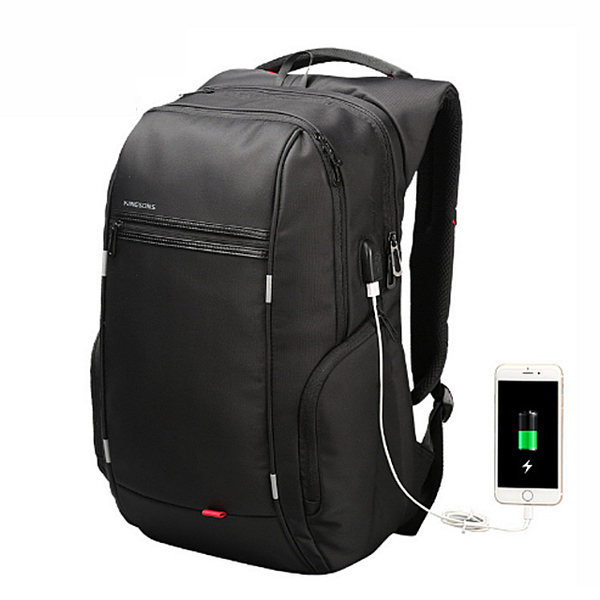 KINGSONS waterproof anti-theft USB charging port charging 15.6-inch computer backpack