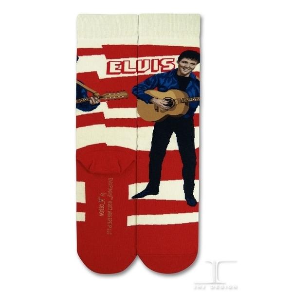 (JHJ DESIGN)[JHJ DESIGN] rock star Elvis red and white striped guitar Elvis and Elvis and Guitar stockings / celebrity socks / knit socks