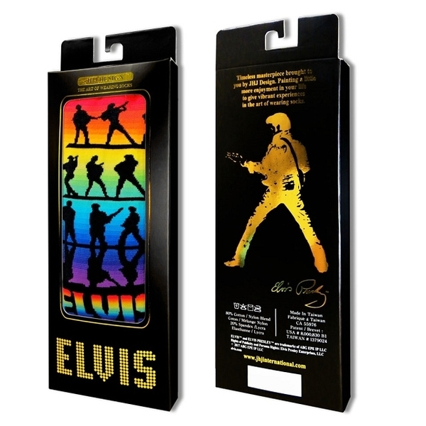 (JHJ DESIGN)[JHJ DESIGN] Rock star Elvis Rainbow Chromatography Spectrum Gradient stockings / celebrity socks / knit socks