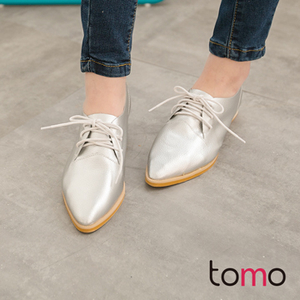 "(TW Shoes)[TOMO] ""faux leather"" British gentleman yuppie low-heeled leather pointed shoes] [K160B2017"
