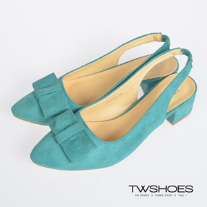 (TW Shoes)TOMO‧ Bow with Elastic Thick Heels - Green [K122C2568]