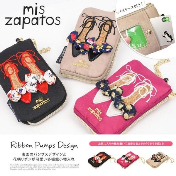 (mis zapatos)Japan mis zapatos three-dimensional ribbon bow embroidery high heels coin purse ticket holder