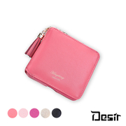 (Desir)DesirW Japan and South Korea hot zipper tassel compact coin purse card package short clip