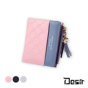 (Desir) กระเป๋าสตางค์ผู้หญิงแบบพับได้ สไตล์เกาหลี สีสันสดใส ลายตาราง