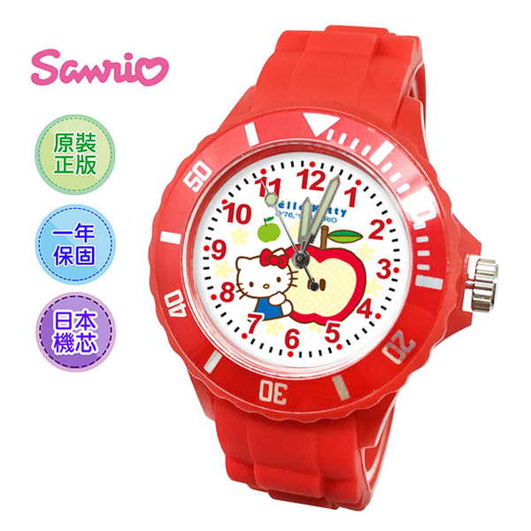 (Sanrio)Sanrio Hello kitty Sanrio original sports ribbon watch _ apple red