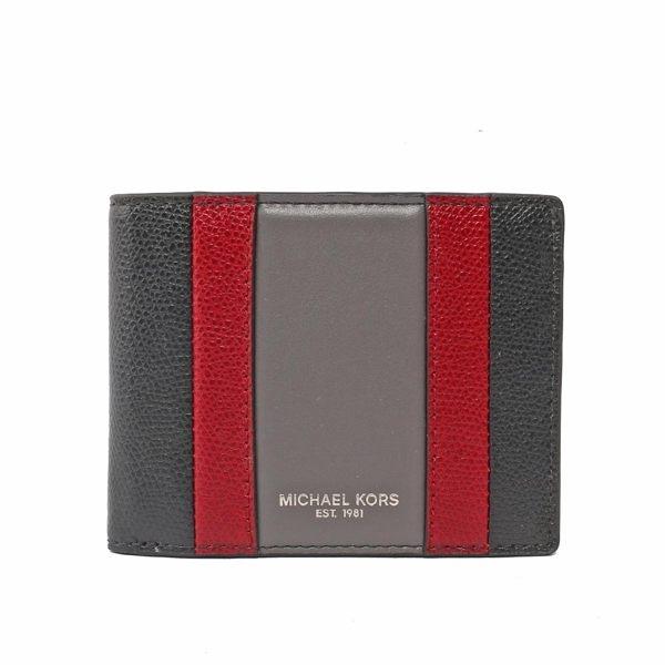 (Michael Kors) กระเป๋าสตางค์ใบสั้น หนังป้องกันรอยขีดข่วน คัลเลอร์บล็อก ใส่บัตรได้ 6 ใบ (สีดำ / สีแดง / สีเทา) 36T7LWRF5T BLK