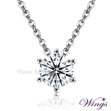 (WINGS)Wings shining star shine heart and arrow cubic zirconium refined white gold necklace