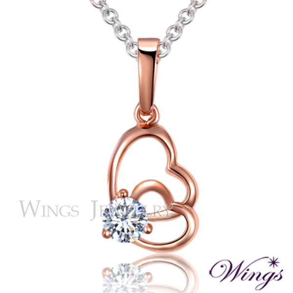 (WINGS)Wings sleek and sweet imported cubic zirconia fine rose gold necklace