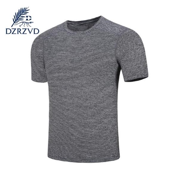 (DZRZVD)DZRZVD Rhododendron [008 men's quick-drying T-shirt] dark gray stripes