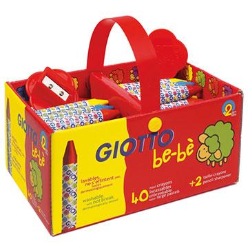 (【義大利GIOTTO】寶寶不沾手胖蠟筆手提組(40支))[Italian] GIOTTO left the baby fat crayons mobile group (40)