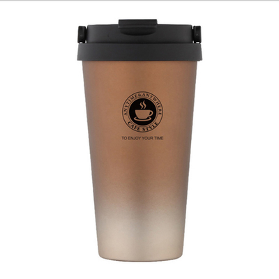 PUSH! Office Insulation Coffee Cup Cold Tea Cup Brew Cup 304 Stainless Steel Vacuum Cup Handle Cover 500ML E104 Coffee