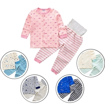 Children's wear pajama home service Japanese infants cardigan high waist belly pants suits belly