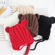 Tongue hat wool cap plush hat - solid color striped bear earmuffs hat