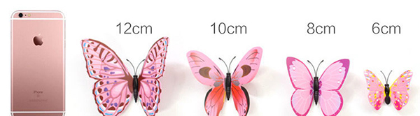 [Pond's] 3D Stereo Butterfly Wall Sticker ~ Red Violet Series Pins