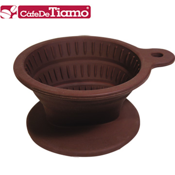 (Tiamo)Tiamo Silicone Folding Filter Cup with Filter Paper 40 into Coffee Spoon - Brown (HG2331)