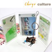 (chuyuculture) NA-20098 แบบพกพาสามผู้ถือบัตร / ห่วงโซ่ที่แนบมา - ง่าย