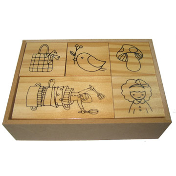(Craft Party) ตัวปั๊ม/ตรายางไม้+หมึก: ชุดสาวเมเปิ้ล