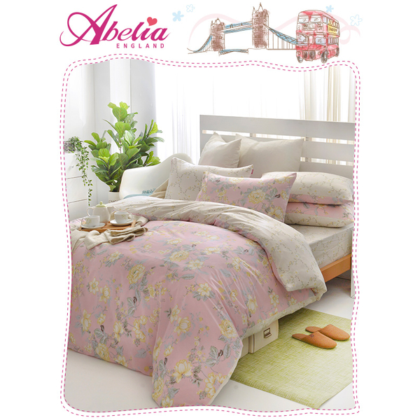 "(Abelia)British Abelia ""Sweet Pink Romance"" single cotton three-piece quilt cover bag set"