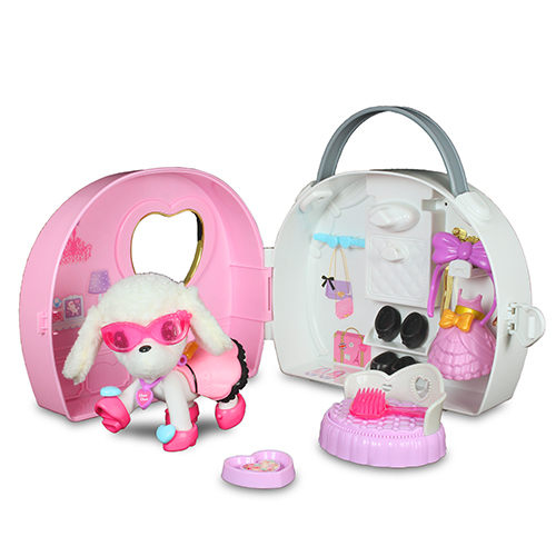 Cute pink handbag dog
