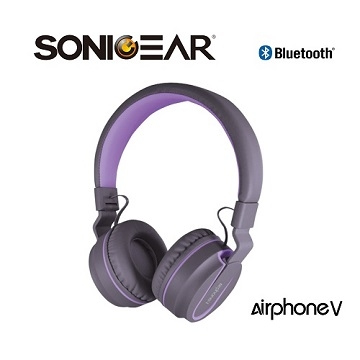 (SoincGear)[SONICGEAR] Airphone V Bluetooth wireless headphones _G.Purple gray