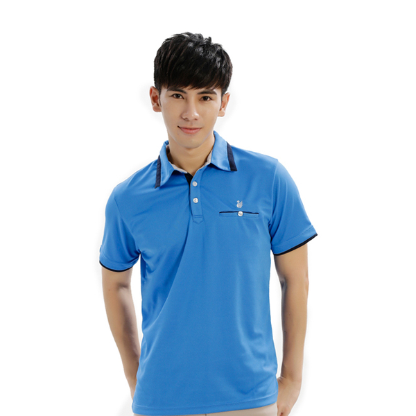 (Globe Trotter)Travel all over the world men's anti-UV moisture wicking POLO shirt GS10016 sapphire blue